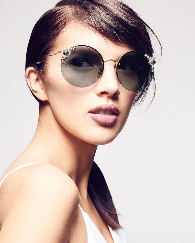 Miu Miu Stone-Trim Semi-Rimless Round Sunglasses