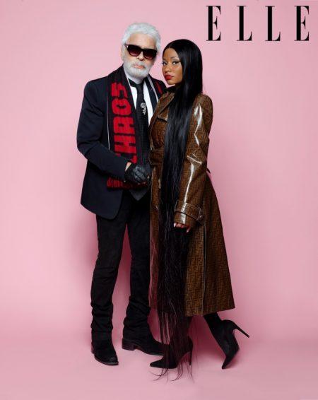 Posing with Karl Lagerfeld, Nicki Minaj wears Fendi coat and Stuart Weitzman pumps