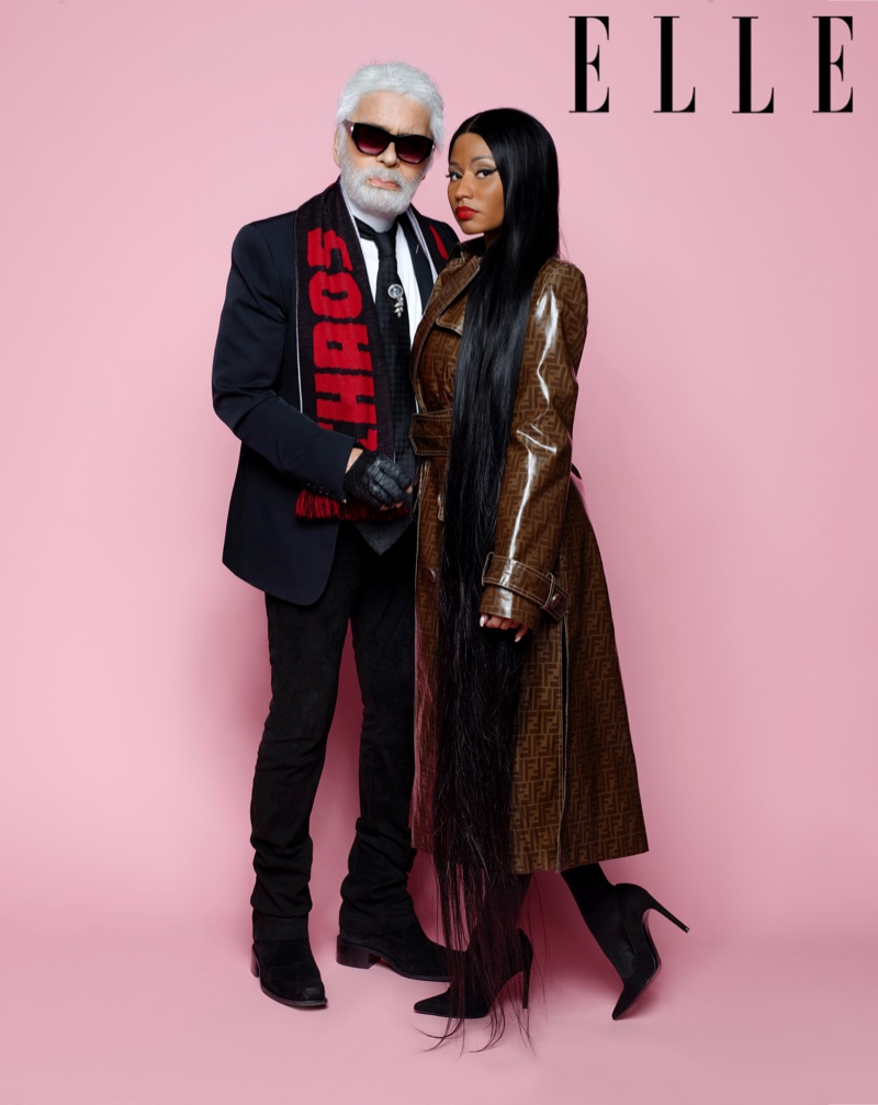 Nicki Minaj Poses with Karl Lagerfeld for ELLE Cover Shoot