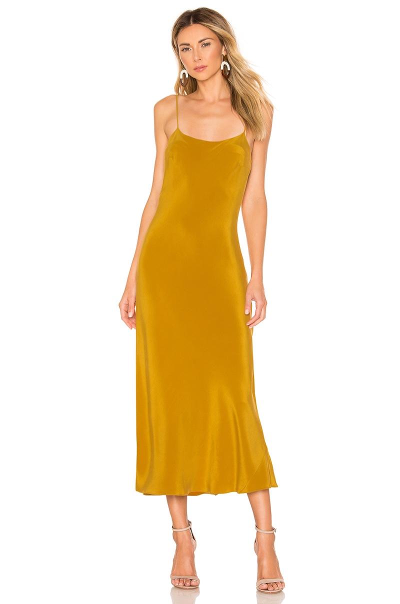 Olivia von Halle Artemis Silk Midi Slip Dress $890