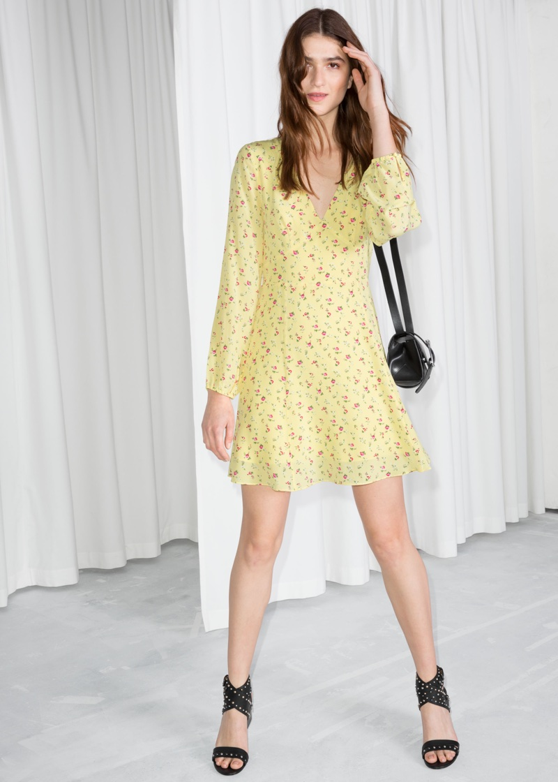 & Other Stories Floral Print Silk Dress $73 (previously $145)