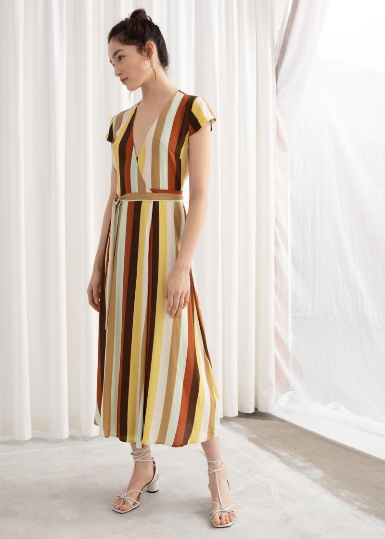 & Other Stories Striped Midi Wrap Dress $49 (previously $99)
