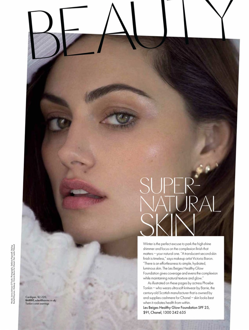 Ready for her closeup, Phoebe Tonkin wears Barrie sweater