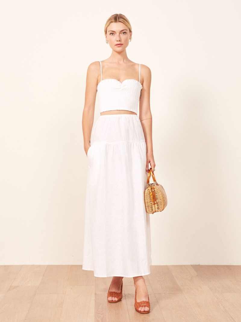 Reformation Kitty Two Piece in White $218