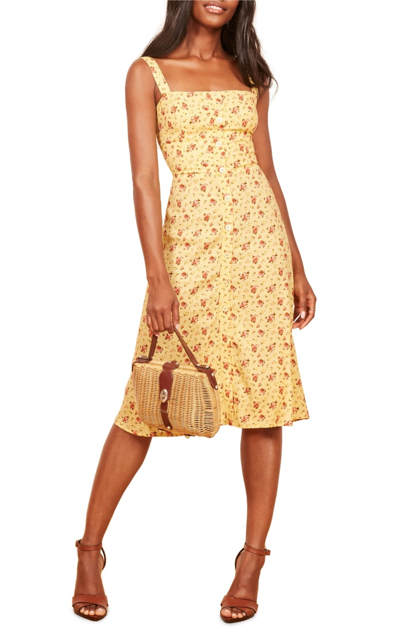 Reformation Persimmon Floral Midi A-Line Dress in Zinnia $198
