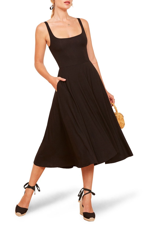 Reformation Rou Midi Fit & Flare Dress in Black $98
