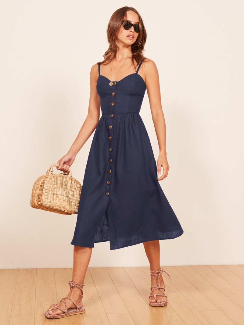 Reformation Thelma Dress in Navy $198
