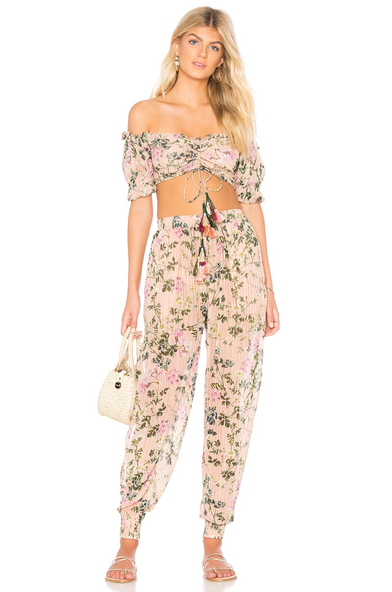 Rococo Sand x REVOLVE Flora Top $156 and Flora Pant $220