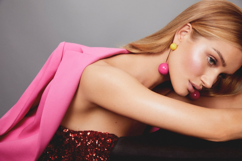 Kai Z Feng photographs Rosie Huntington-Whiteley for Rose Inc.