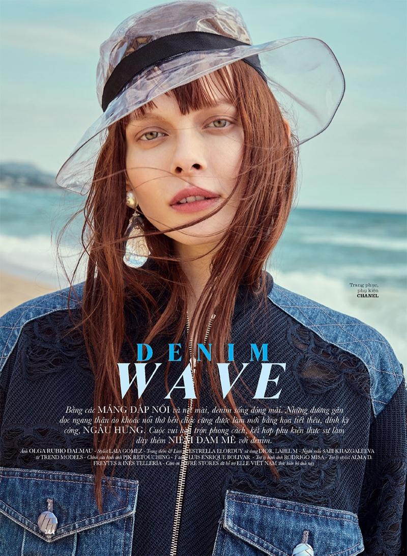 Sabi Khazgaleeva Embraces Denim Looks for ELLE Vietnam