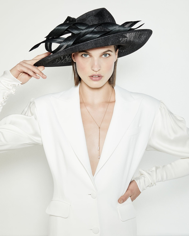 Philip Treacy Oval Straw Hat with Self Ribbons