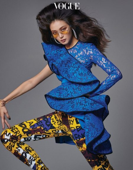Sunghee Kim Models Colorful 80's Styles for Vogue Korea