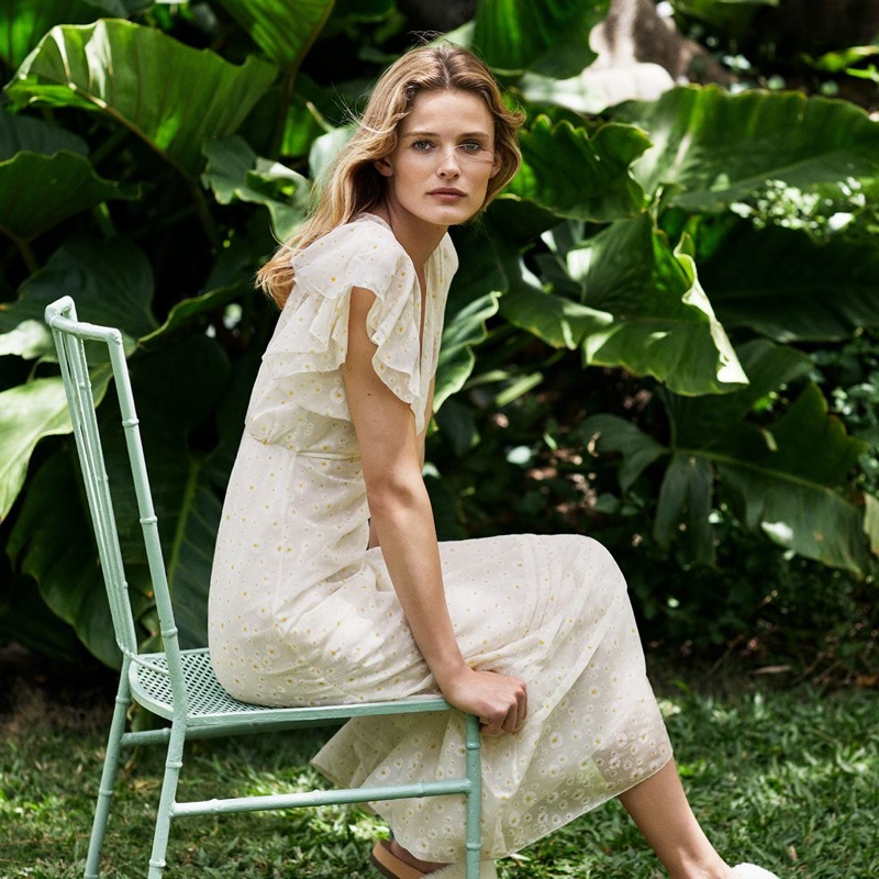 Edita Vilkeviciute models Susanna dress from Tory Burch pre-fall 2018 campaign