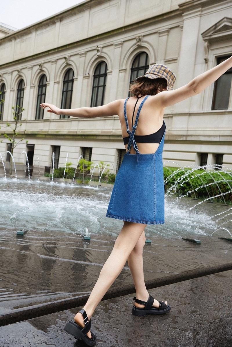UO Denim Zipper Cross-Back Dress