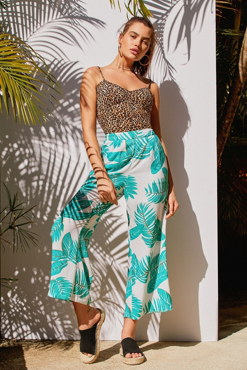 Out From Under Kindall Bodysuit and J.O.A. Printed Wide-Leg Pant