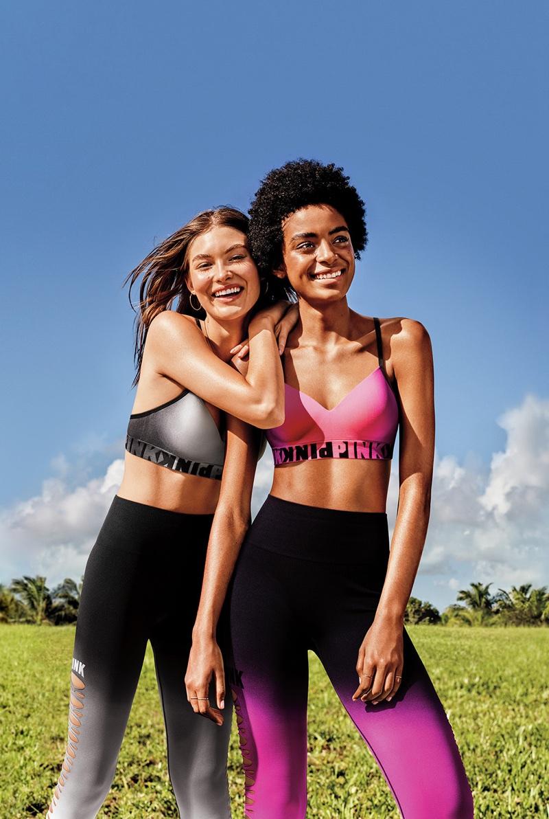 Grace Elizabeth and Alécia Morais model sporty style for Victoria's Secret PINK summer 2018 campaign