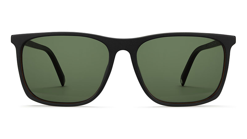 Warby Parker Fletcher Wide Sunglasses in Black Matte Eclipse with Bottle Green Lenses $95