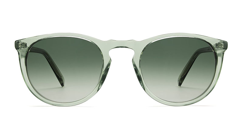 Warby Parker Haskell Sunglasses in Aloe Crystal with Bottle Green Lenses $95