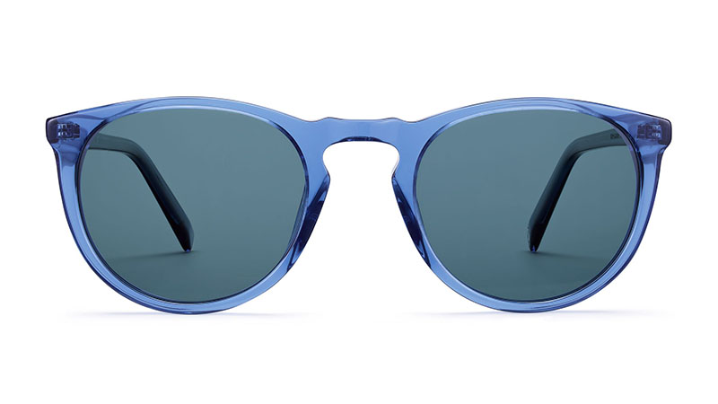 Warby Parker Haskell Sunglasses in Oxford Blue Crystal with Classic Blue Lenses $95