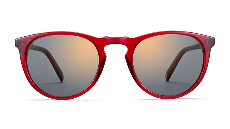 Warby Parker Haskell Sunglasses in Ruby with Flash Mirrored Bronze Lenses $95
