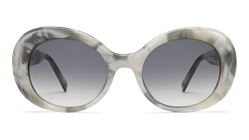 Warby Parker Lola Sunglasses in White Marble with Grey Gradient Lenses $95