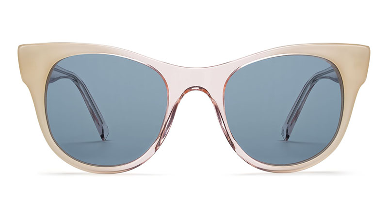 Warby Parker Penny Sunglasses in Rose Quartz Fade with Classic Blue Lenses $95