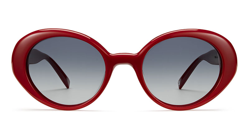 Warby Parker Renee Sunglasses in Pimento with Grey-Blue Gradient Lenses $95