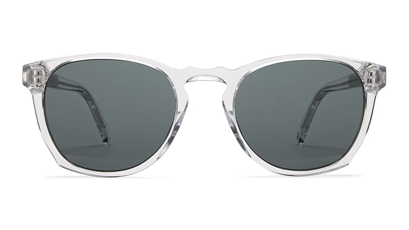 Warby Parker Topper Wide Sunglasses in Crystal with Classic Grey Lenses $95