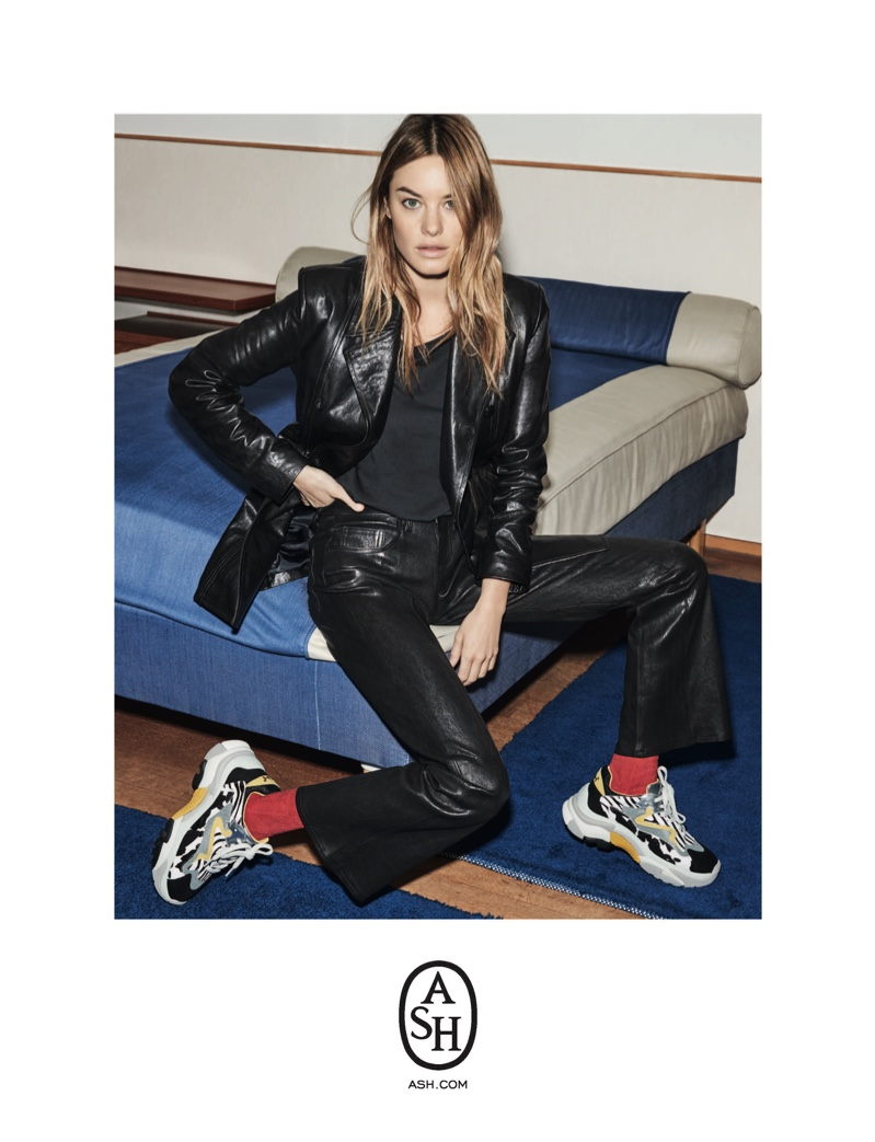 Camille Rowe wears leather jacket for ASH fall-winter 2018 campaign