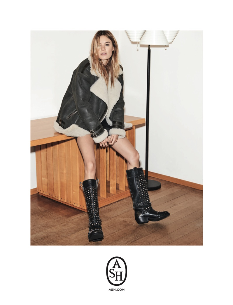 Model Camille Rowe wears shearling jacket for ASH fall-winter 2018 campaign