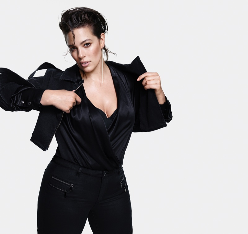 Channeling 1980's style, Ashley Graham poses for Marina Rinaldi Denim fall-winter 2018 campaign