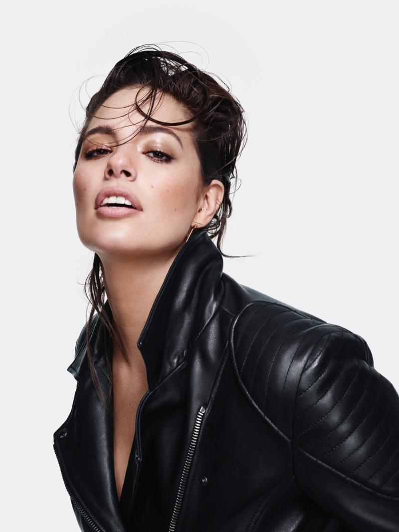 Wearing a leather jacket, Ashley Graham fronts Marina Rinaldi Denim fall-winter 2018 campaign