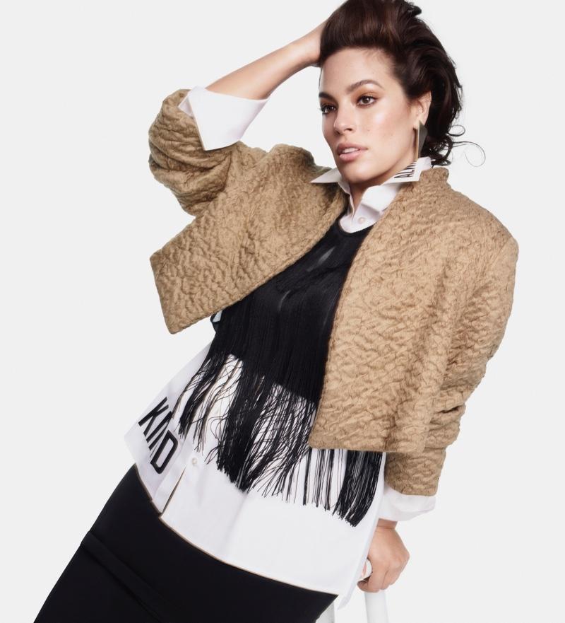 Layering up, Ashley Graham appears in Marina Rinaldi fall-winter 2018 campaign