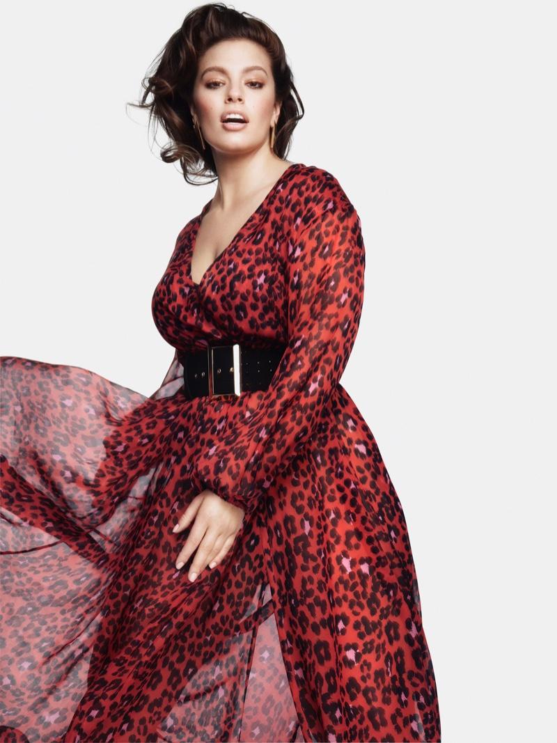 672c03e36fc ... Dressed in a red leopard print dress, Ashley Graham fronts Marina  Rinaldi fall-winter