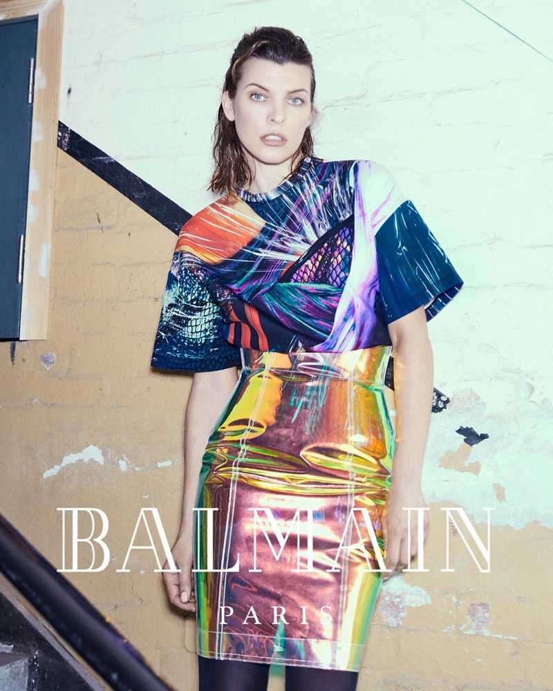 Milla Jovovich poses in colorful look for Balmain fall-winter 2018 campaign