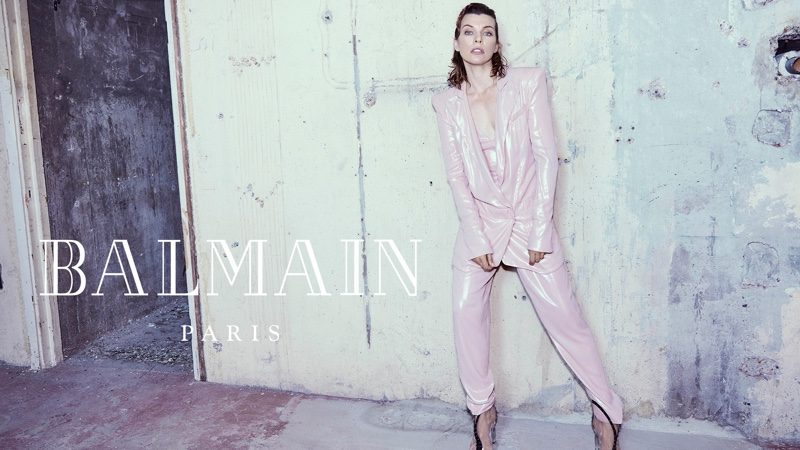 Suiting up, Milla Jovovich wears pink pantsuit in Balmain fall-winter 2018 campaign