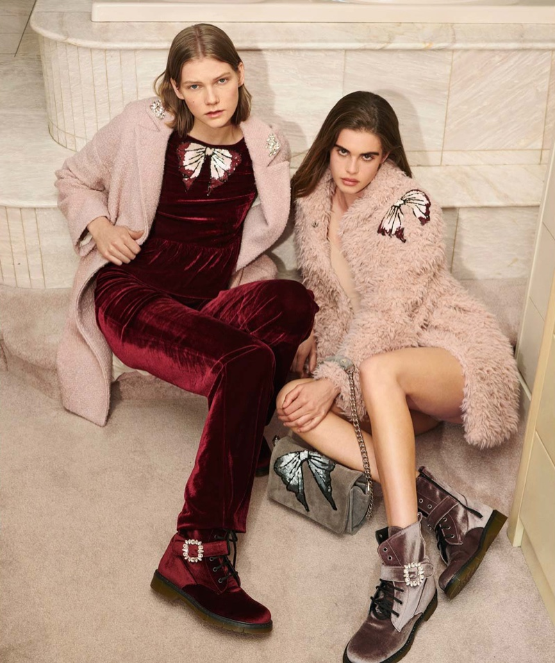 Blugirl features dusty pink coats in its fall-winter 2018 campaign