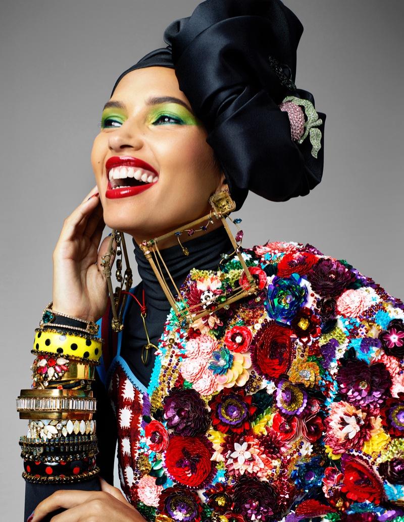 Camila Costa Poses in Chic Headwraps for Harper's Bazaar Arabia