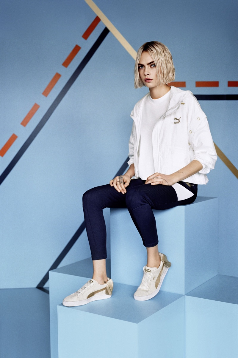 PUMA enlists Cara Delevingne for Suede Bow Varsity Sneaker campaign