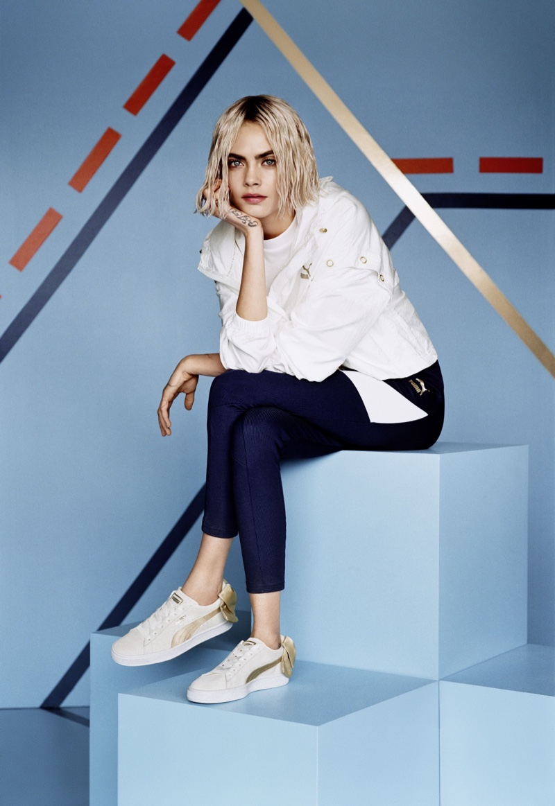 Model and actress Cara Delevingne fronts PUMA Suede Bow Varsity Sneaker campaign