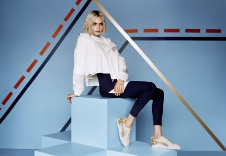 Cara Delevinge appears in PUMA campaign wearing the Suede Bow Varsity sneaker