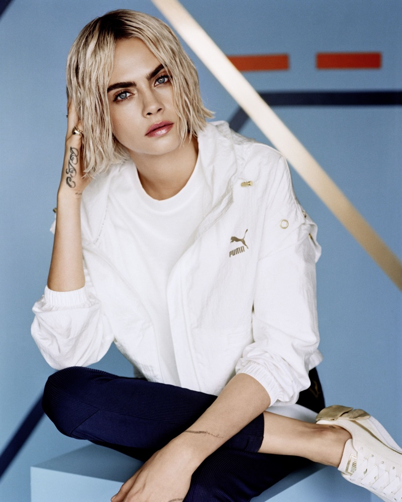 Supermodel Cara Delevinge appears in new PUMA campaign wearing the Suede Bow Varsity sneaker