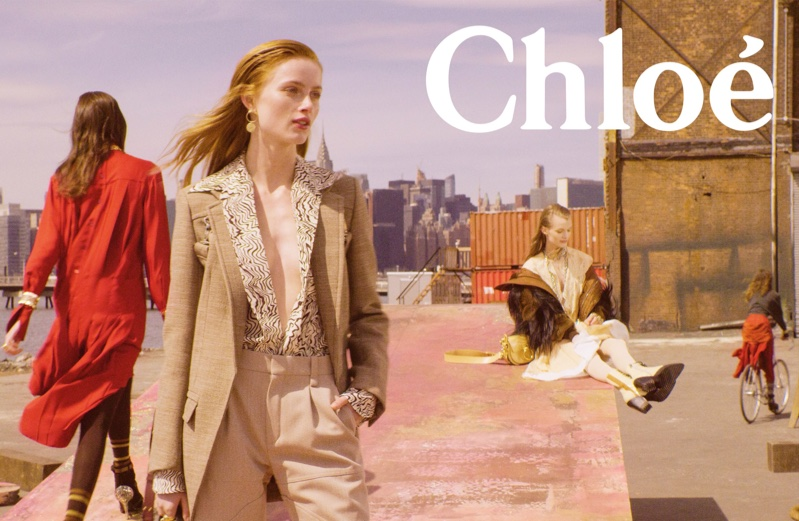 Rianne van Rompaey and Kris Grikaite front Chloe fall-winter 2018 campaign