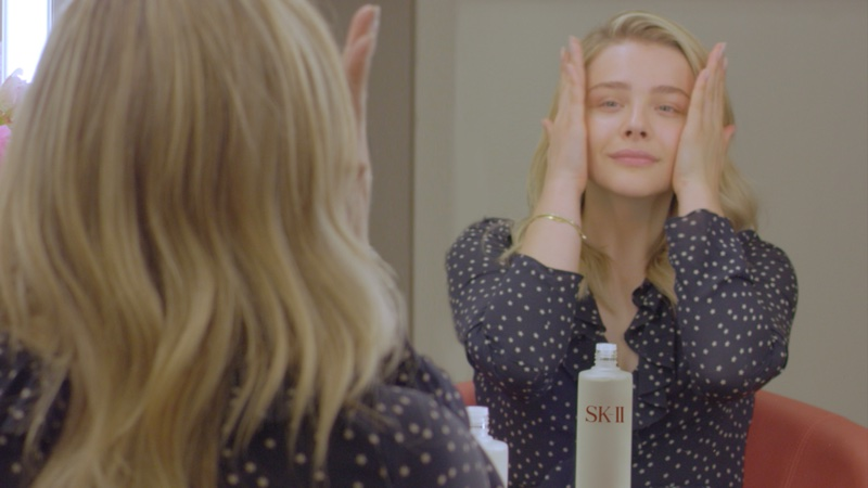 Actress Chloe Grace Moretz poses makeup free for SK-II #BareSkinProject film