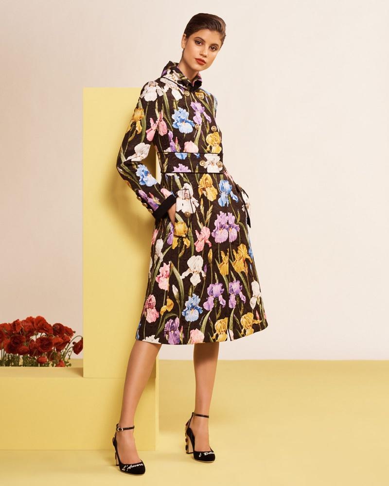 Dolce & Gabbana Iris-Print Brocade Coat