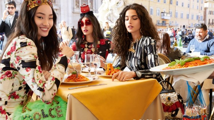 Models eat pasta in Dolce & Gabbana fall-winter 2018 campaign