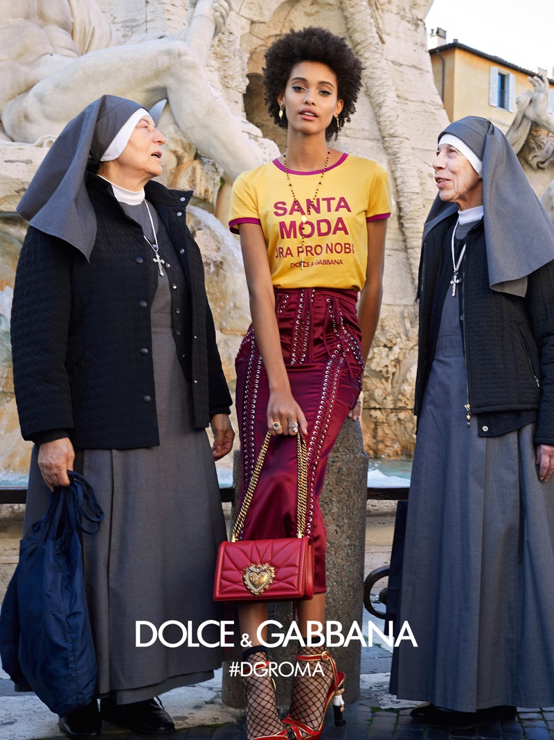 Samile Bermannelli poses with nuns for Dolce & Gabbana fall-winter 2018 campaign