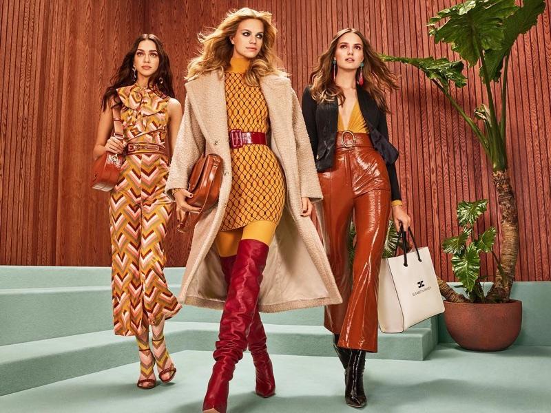 Zhenya Katava, Nadine Leopold and Agne Konciute appear in Elisabetta Franchi fall-winter 2018 campaign