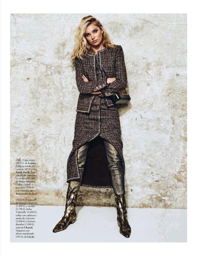 Elsa Hosk Models Chic Fall Styles for ELLE Spain