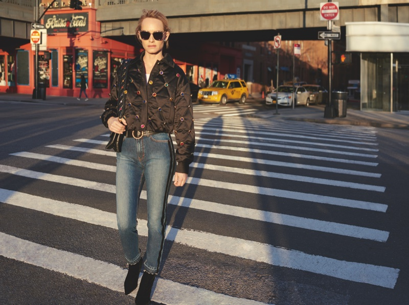 Posing in New York City, Amber Valletta appears in Escada fall-winter 2018 campaign